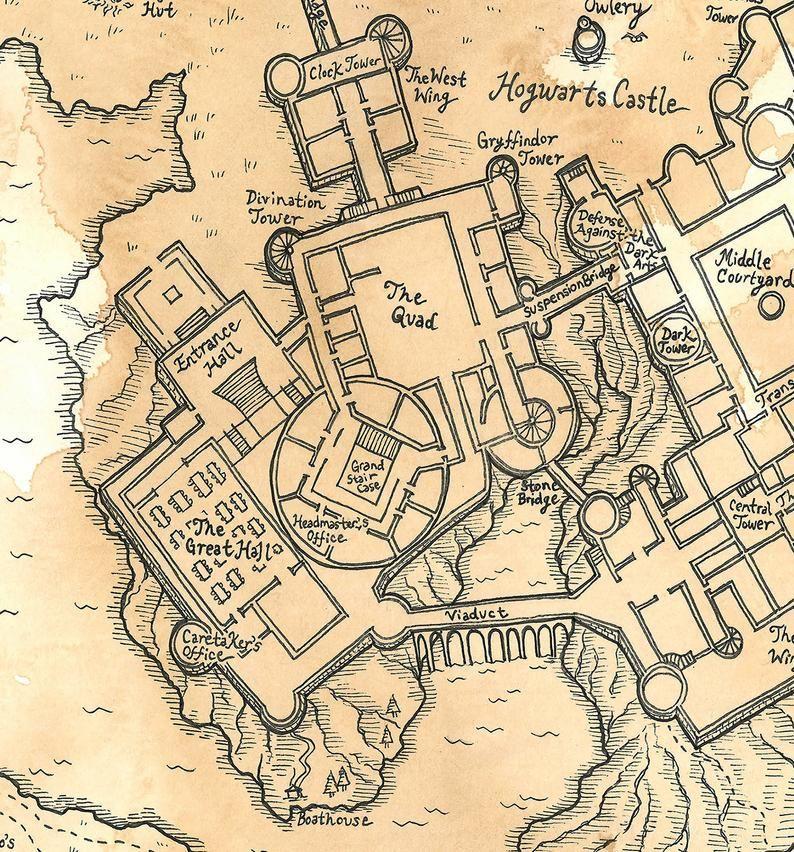 Hand Drawn Harry Potter Map Of Hogwarts Print Harry Potter Drawings Harry Potter Minecraft Hogwarts