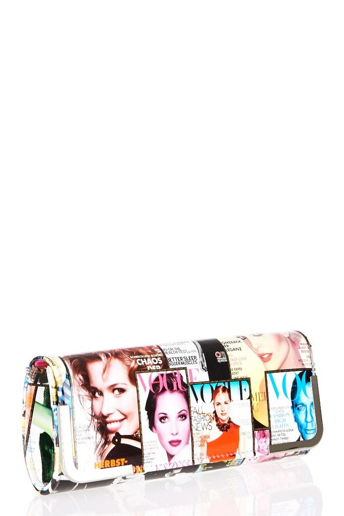 Magazine Print Clutch Bag This Gorgeous Has Vogue Cover Photos All Over It A Metal Edging And Magnetic Clasp An Inside Pocket