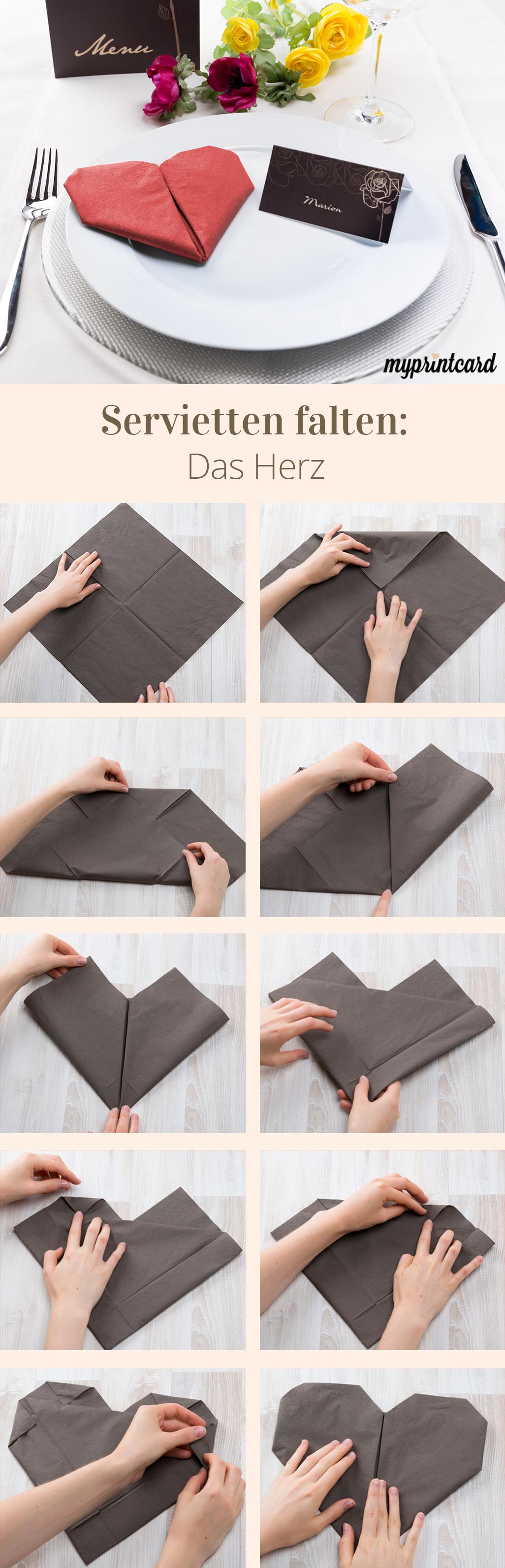 Servietten falten – Das Herz #serviettenfalteneinfach