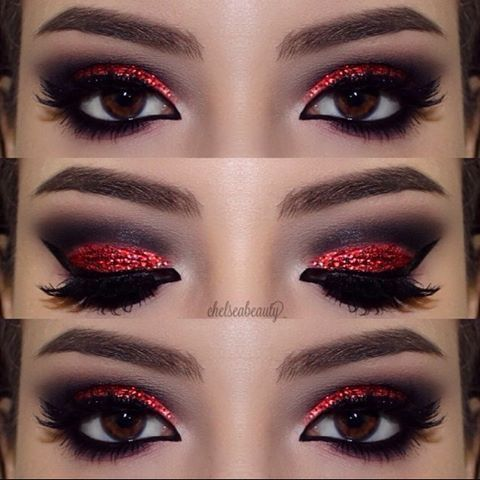 for my minnie mouse look i'm going for Red Glitter Eye make up look #2019, #Eye #glitter #M...
