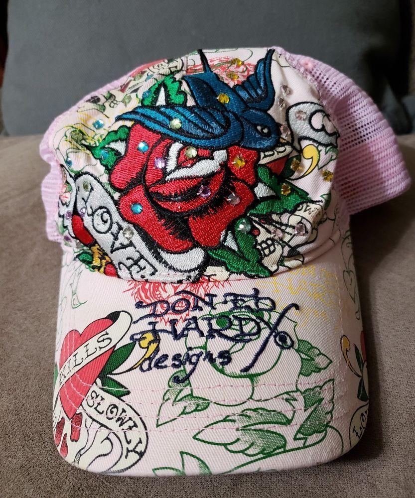 c700f448f43 Ed Hardy Cap Embroidered Rhinestone Snapback Pink Mesh Hat Love Kills Slowly   fashion  clothing
