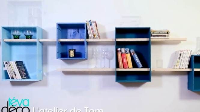 dans l atelier de tom cr er des tag res en caisses. Black Bedroom Furniture Sets. Home Design Ideas