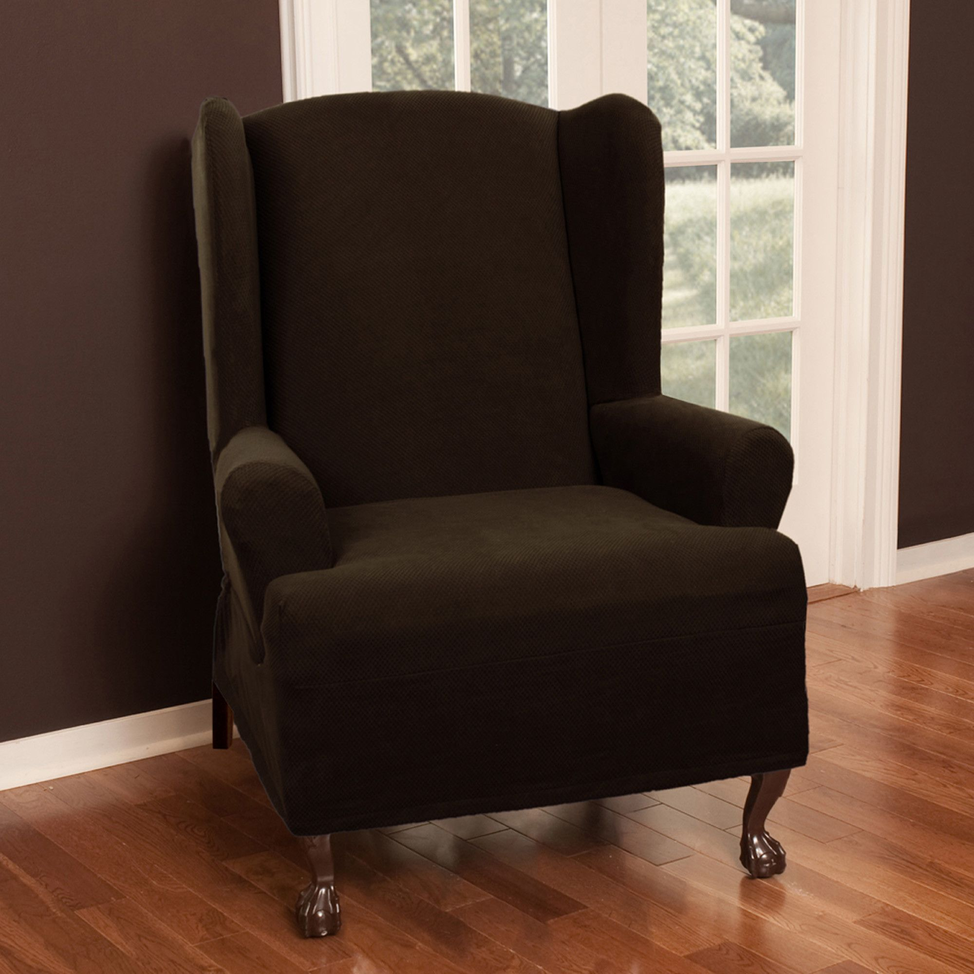 Pixel Stretch Wing Chair T Cushion Slipcover