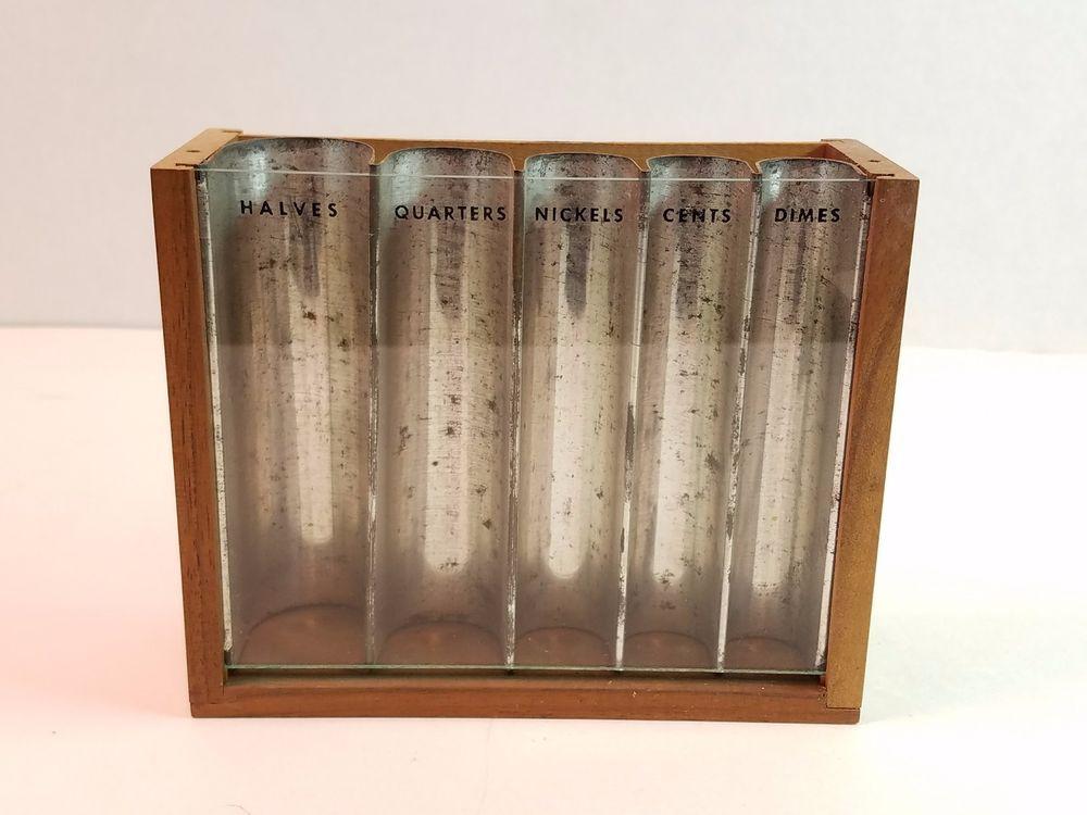 vtg antique glass front wood metal coin bank organizer. Black Bedroom Furniture Sets. Home Design Ideas