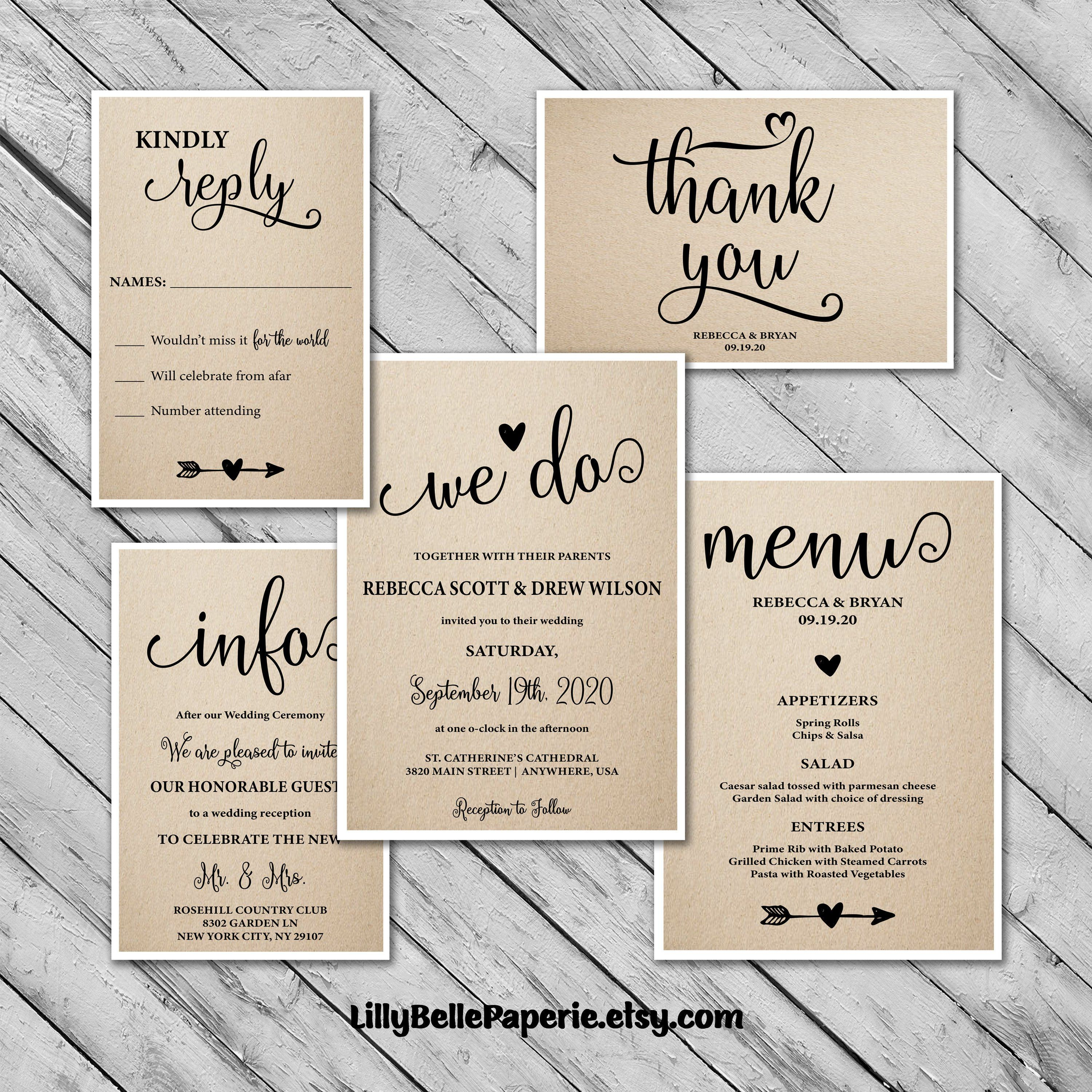 picture relating to Printable Invitations Kit known as Rustic Wedding ceremony Invites Package - Help you save the Day Playing cards