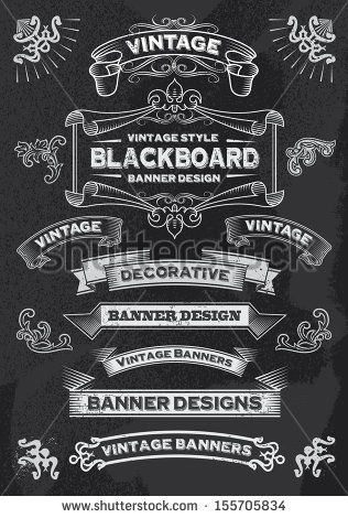 Hand drawn blackboard banner vector illustration with texture added. Chalkboard ribbon and banner design set for menus, greeting cards and festive occasions. - stock vector