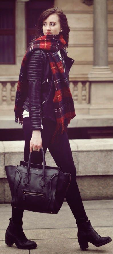 A TOUCH OF PLAID - moto jacket top with plaids fabulous scarf, black leather boots / Vogue Haus