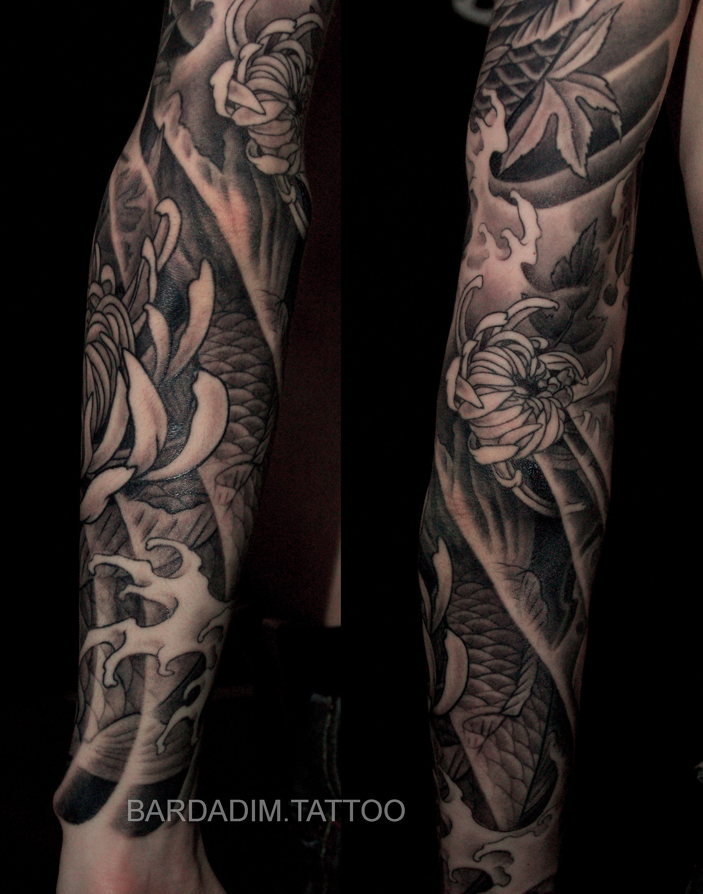 Japanese tattoo. Japanese Sleeve. Half Sleeve Tattoo. Koi