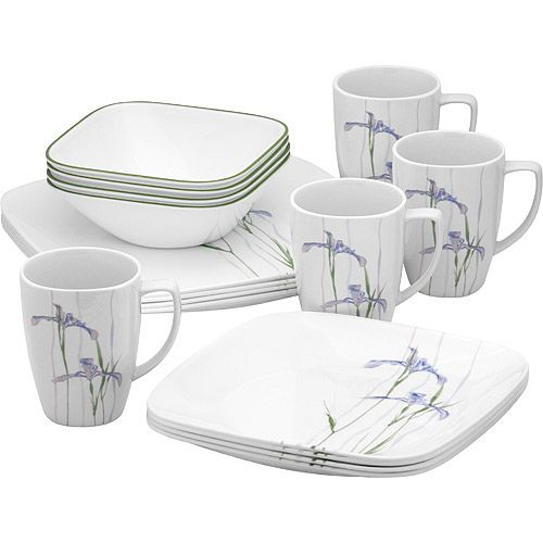 Corelle Square Shadow Iris 16 Piece Dinnerware Set Walmart Com