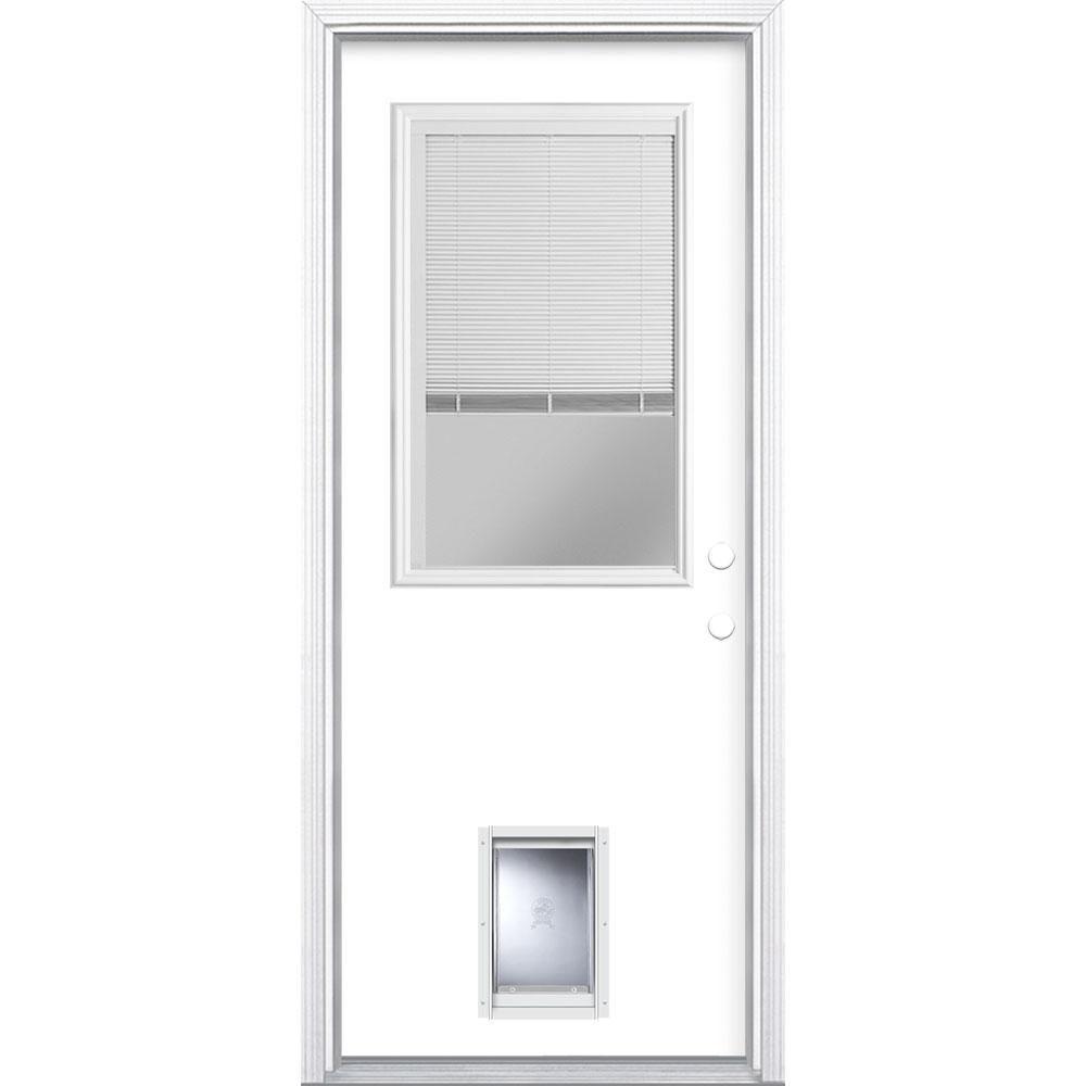 Masonite 32 In X 80 In 1 2 Lite Mini Blind Left Hand Inswing Painted Steel Prehung Front Door With Brickmold And Pet Door Ultra Pure White Mini Blinds Pet Door Blinds