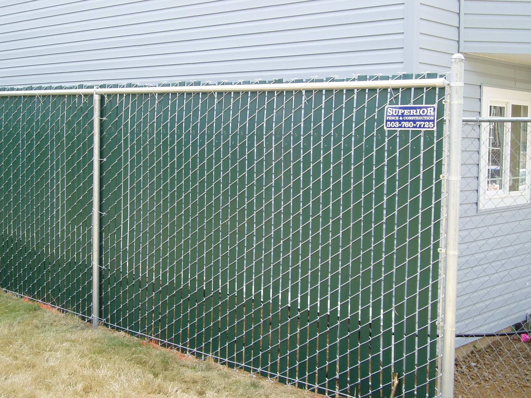 Green Slatted Chain Link Fence Slats Add Privacy To Your