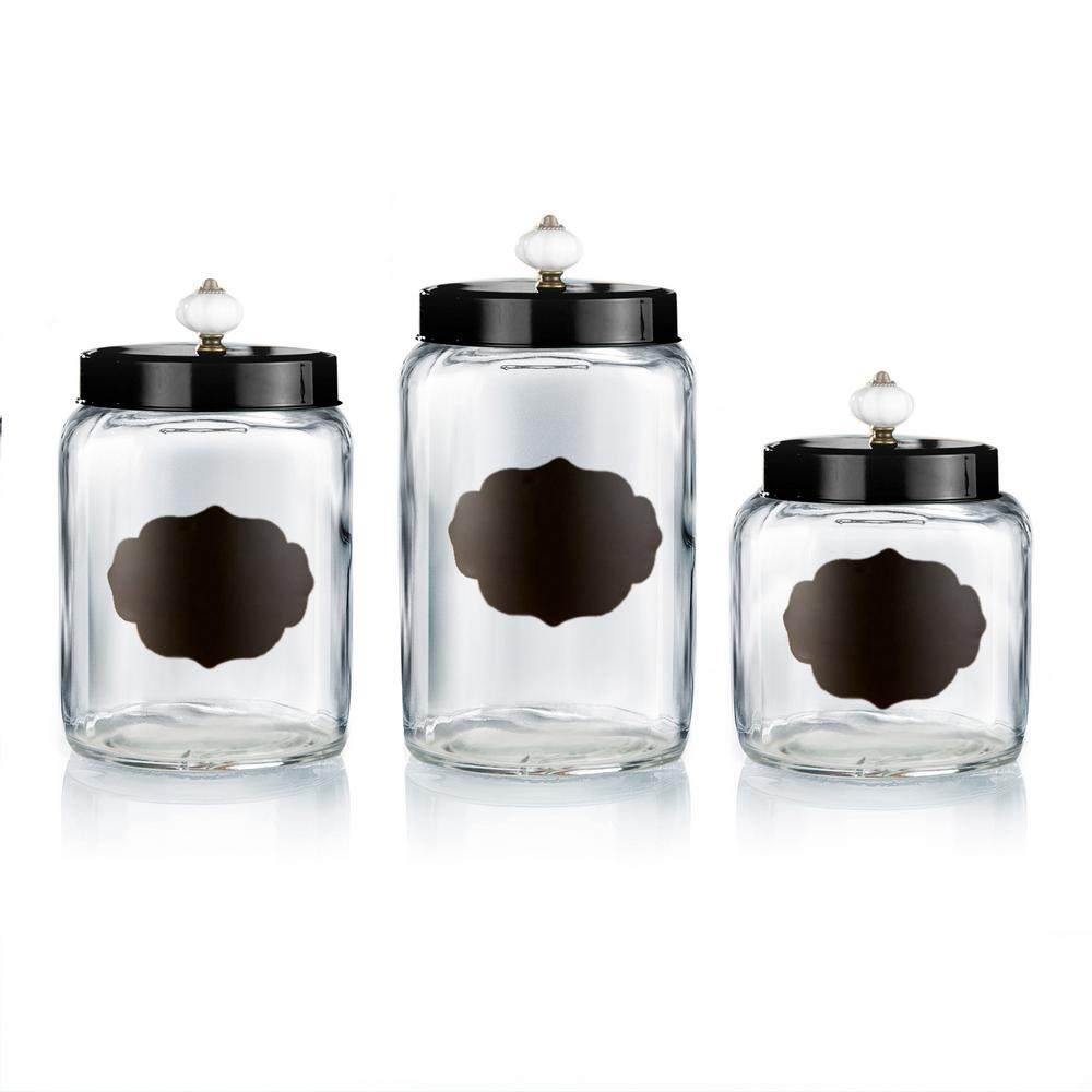 Glass Canisters With Black Lids Set Of 3 Clear Black In