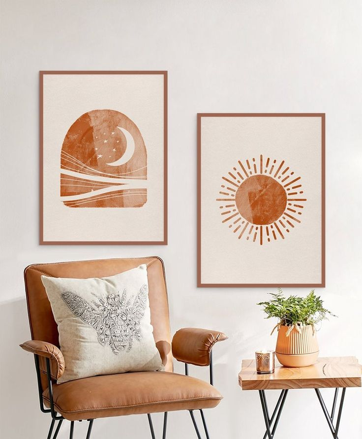 Sun and Moon Print Set of 2, Woodblock Abstract Landscape, Terracotta Burnt Orange Digital download, Printable Mid Century Modern Wall Art