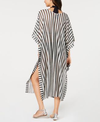 7aa85fe7f83ec Calvin Klein Striped Maxi Caftan Cover-Up - Black in 2019 | Products ...