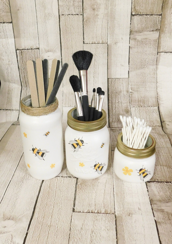 White Bees and Flowers Make up Jars, Mason Jars, Make up