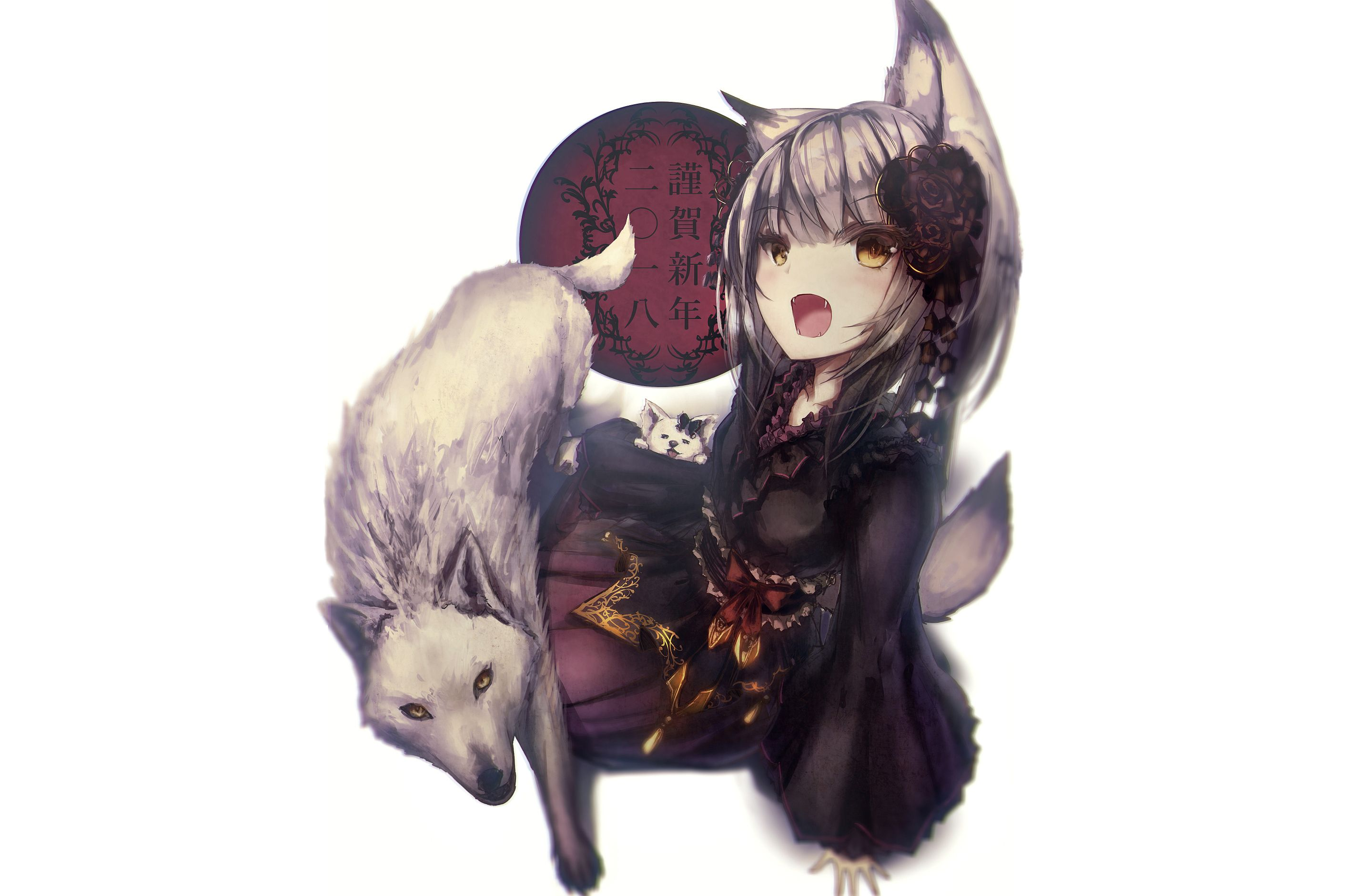 Anime 2823x1882 Anime Anime Girls Original Characters Animals Wolf Wolf Girls White Background Yellow Eyes O Animals Artwork Fox Illustration Animals Beautiful