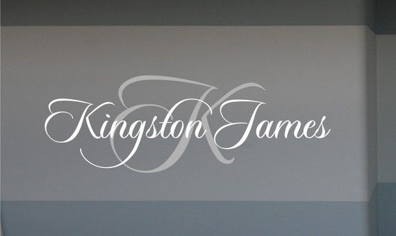 Kingston name with initial vinyl wall decal by homesweetwalls 38 00