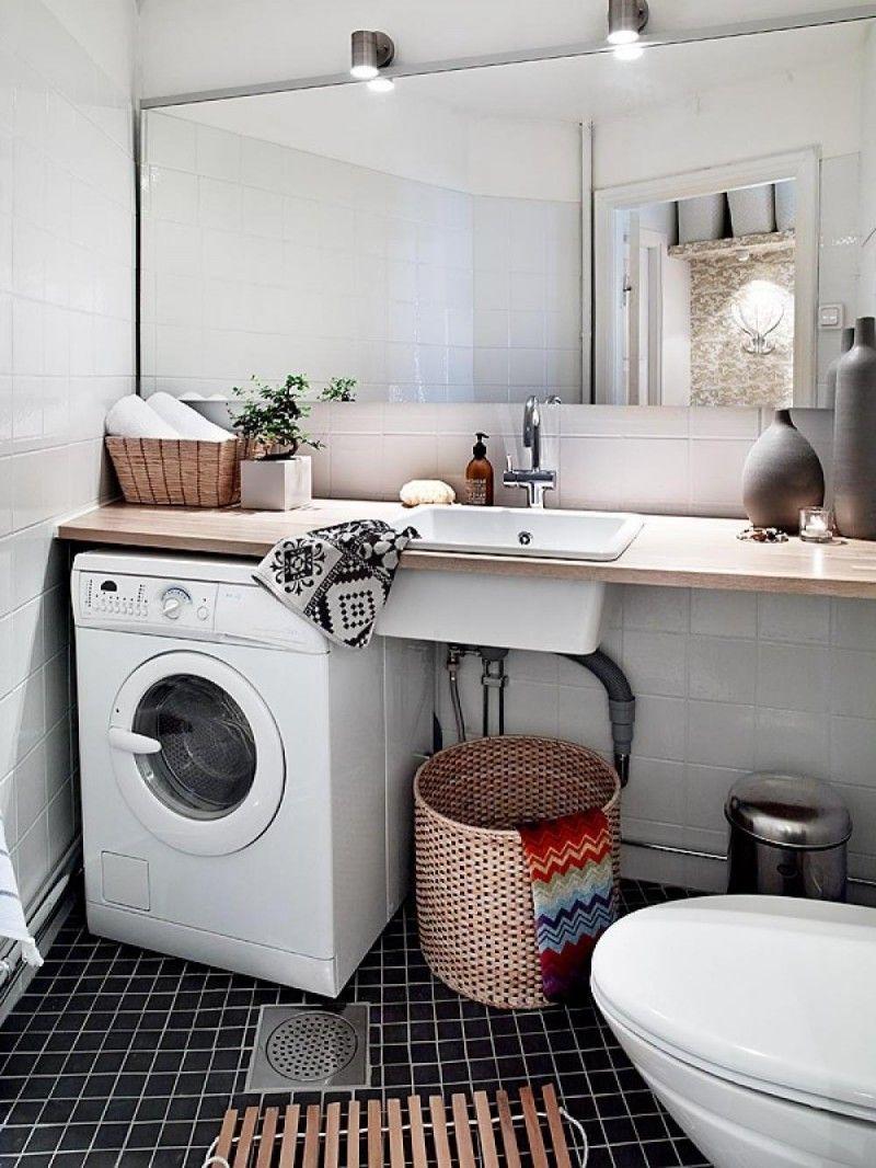 Washing bathroom walls - Amusing Scandinavian Bathroom Ideas With Large Wall Mirror And White Single Washbasin Also White Washing Machine