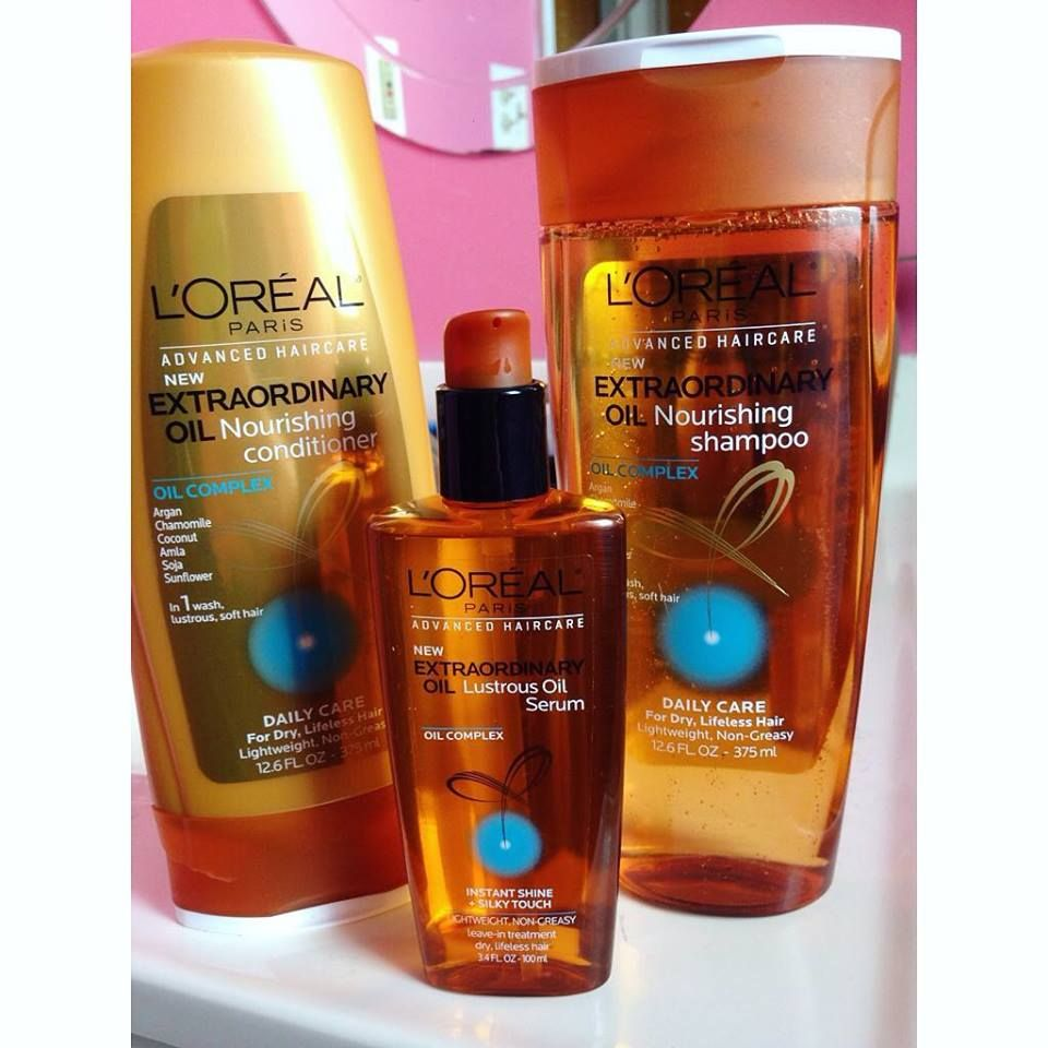 L Oreal Paris Extraordinary Oil Nourishing Shampoo Conditioner And Lustrous Oil Serum The Best For Dry Wavy Or Curly Ha Loreal Shampoo Loreal Paris Loreal
