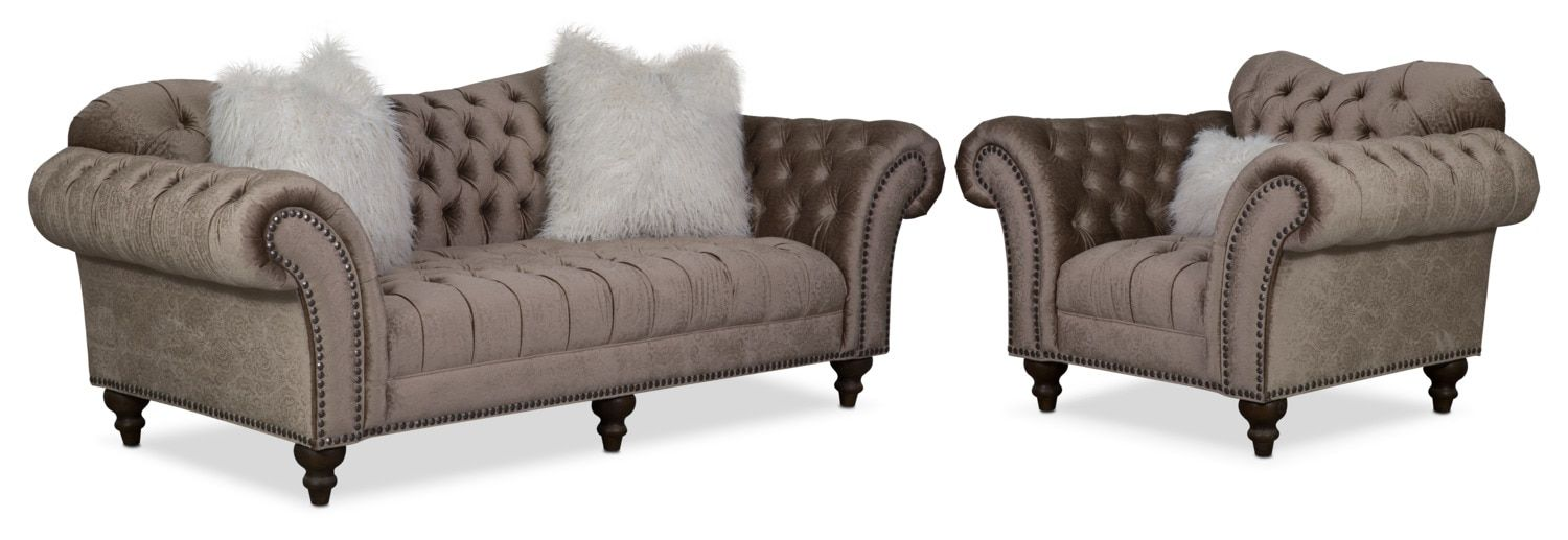 Best Brittney Sofa And Chair Set Champagne Sofa Loveseat 640 x 480