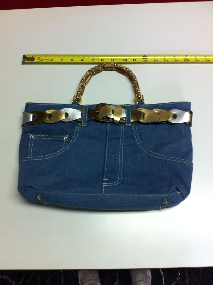 Light Blue Denim Purse With Beaded Handles With Silver And Gold Belt  $24.99  Ebay  FREE SHIPPING