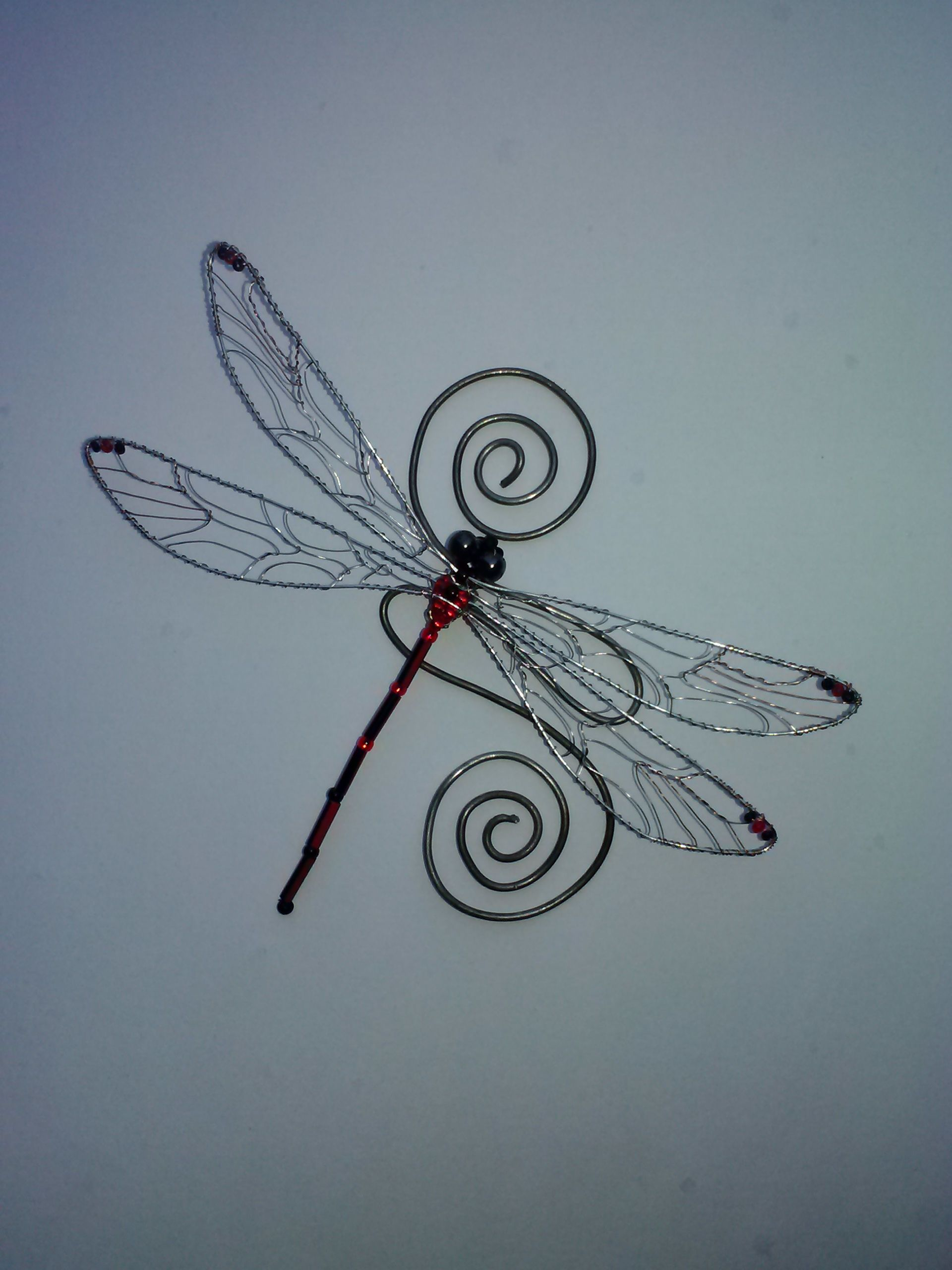 RED BLACK N SILVER another of my dragonfly pieces featuring the ...