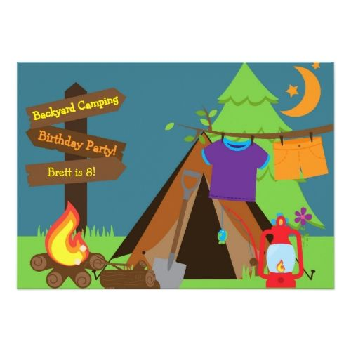 Backyard Camping Campout Sleepover Birthday Invite