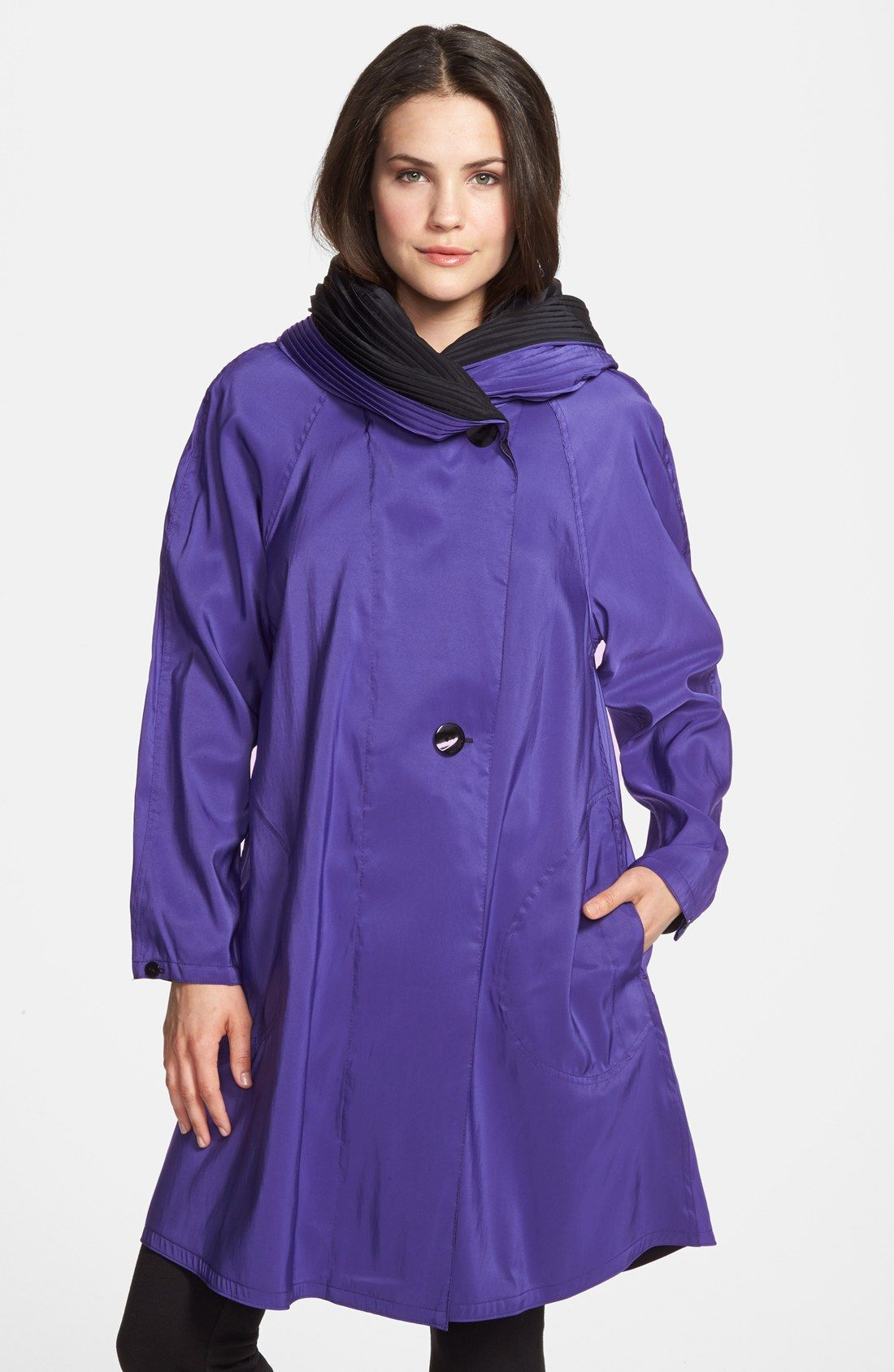 9fb6d21ed44 Free shipping and returns on Mycra Pac Designer Wear Reversible Pleat Hood  Packable Travel Coat at Nordstrom.com. An unstructured travel coat that  packs ...