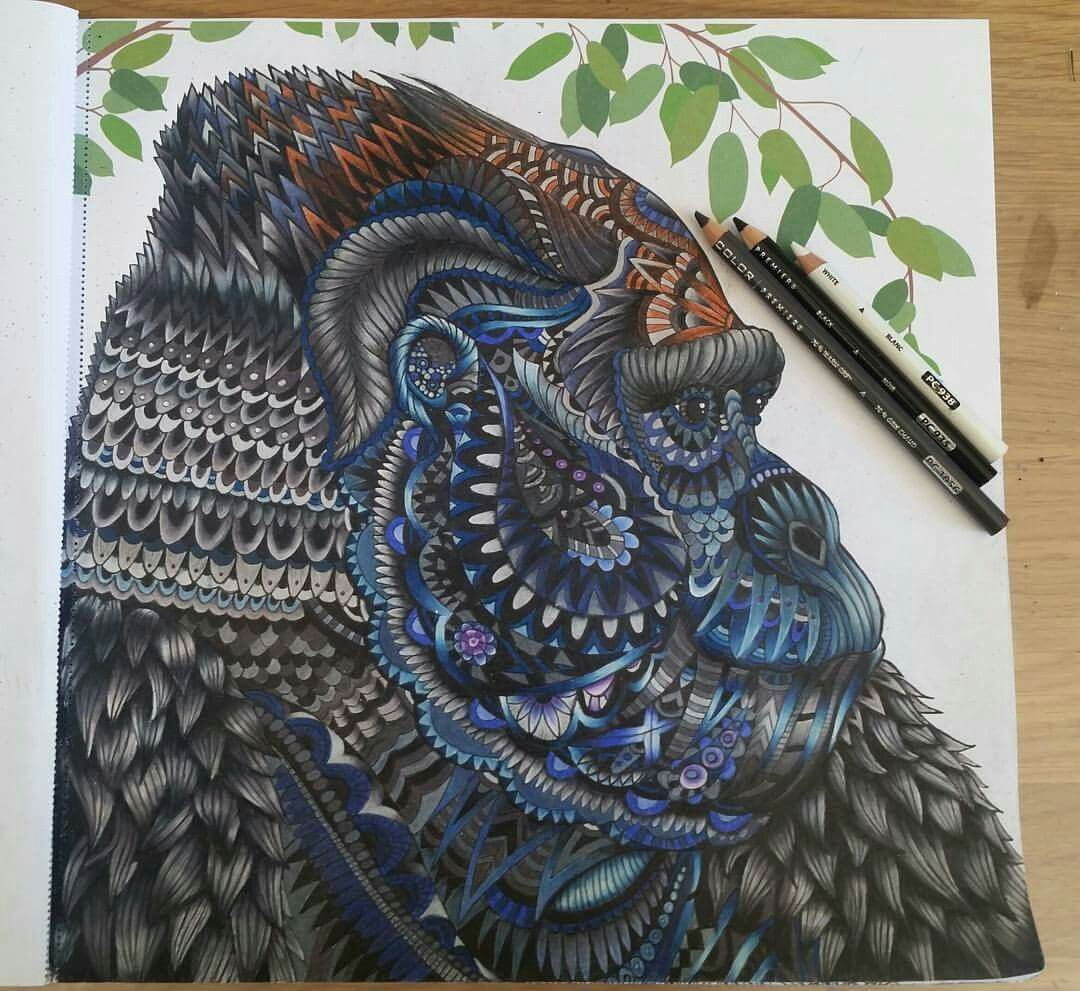From The Menagerie Colouring Book Adultcoloringbook Themenagerie Clairescully Richardmerritt Goril Animal Coloring Books Coloring Books Coloring Pictures