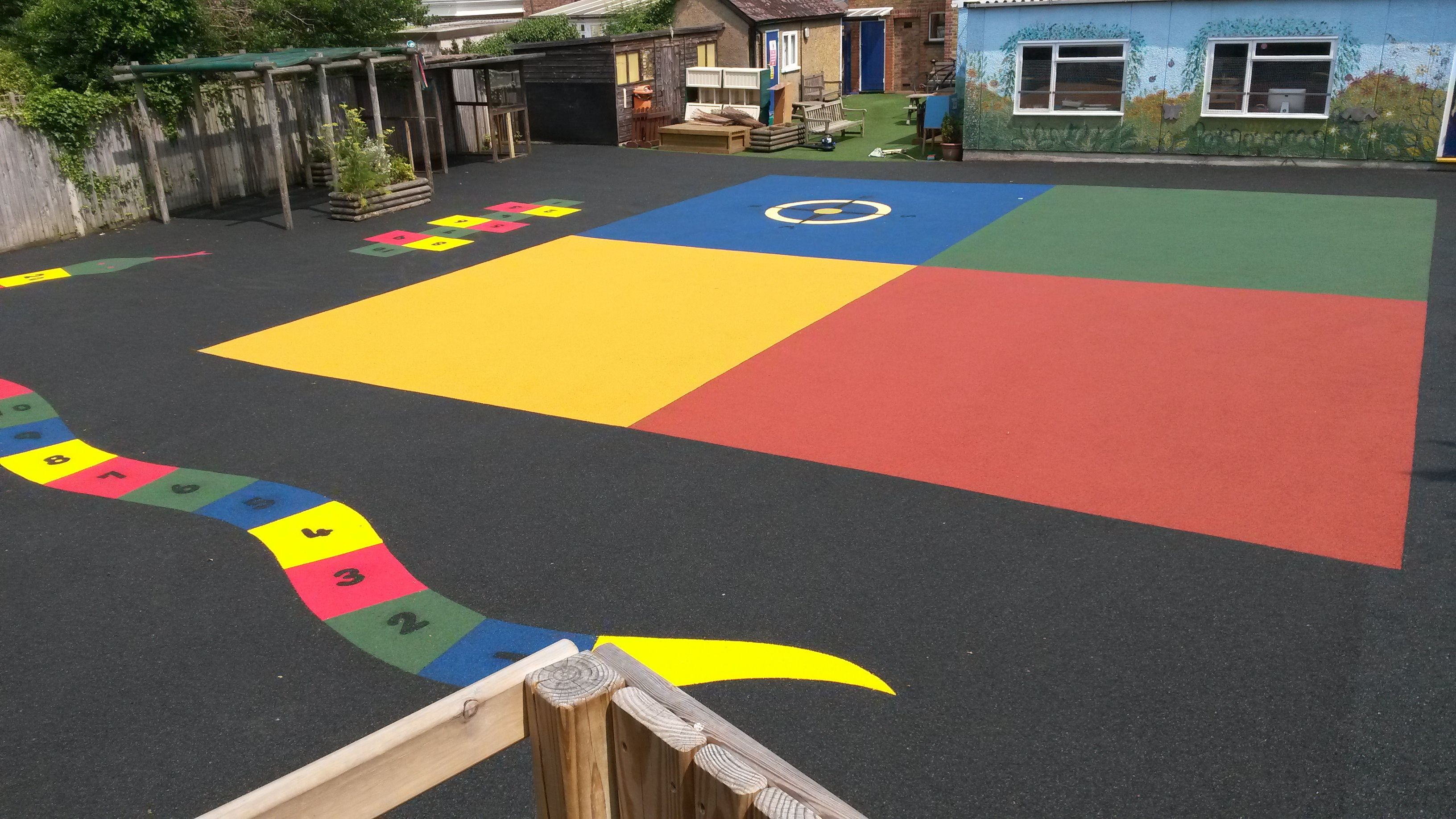 Wet Pour Rubber In A School Playground