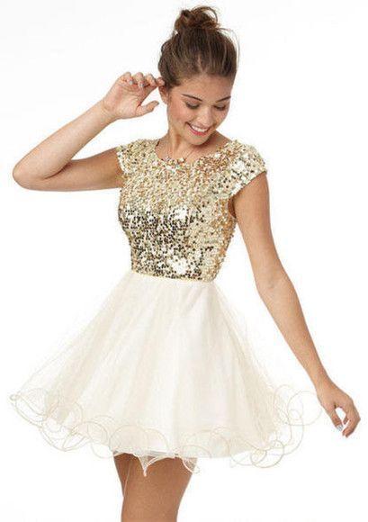 9fb42b843 Vestidos cortos de fiesta blanco con dorado - Vestidos elegantes