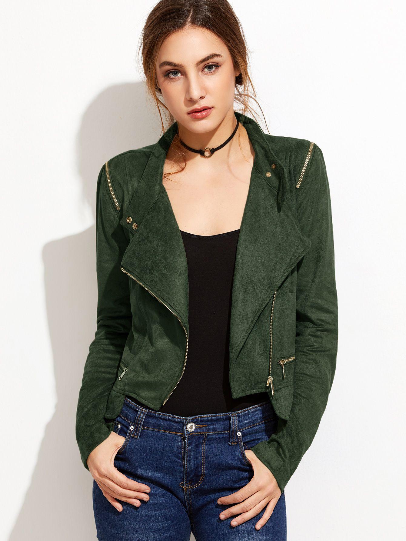 großer Rabatt exquisiter Stil Preis bleibt stabil Wildleder-Jacke mit Schräge Reißverschluss -armee grün ...