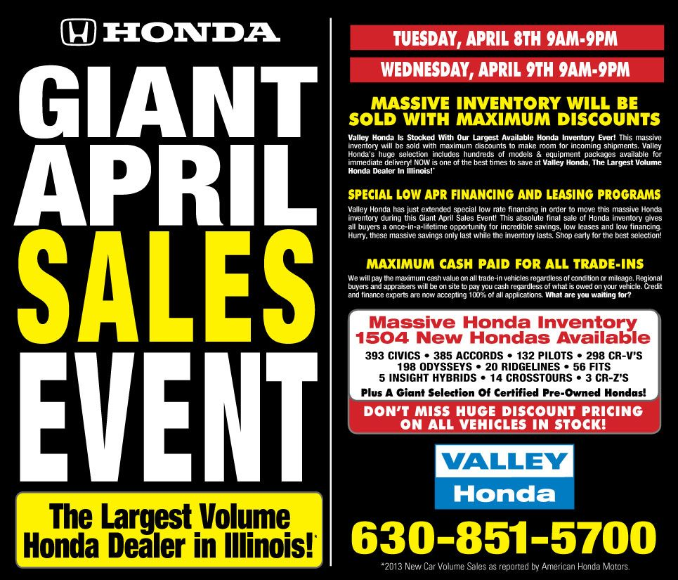 Valley Honda Giant April Sales Event Honda Sales Finance Honda