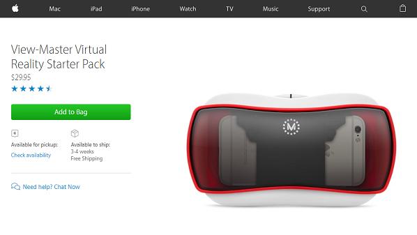 آبل تبدأ بيع نظارة الواقع الافتراضي View Master على متجرها الإلكتروني Iphone Watch Mac Ipad Starter Pack