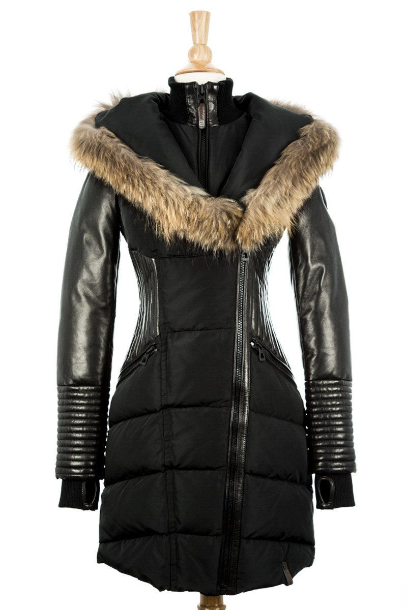 bd3c7c92eb50 Shauna Leather Down Coat With Fur Trim | Inspo | Leather coat with ...