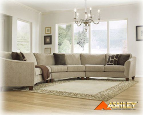 Classic Curves - Stone 3 Piece Curved Sectional Sofa by Ashley ...