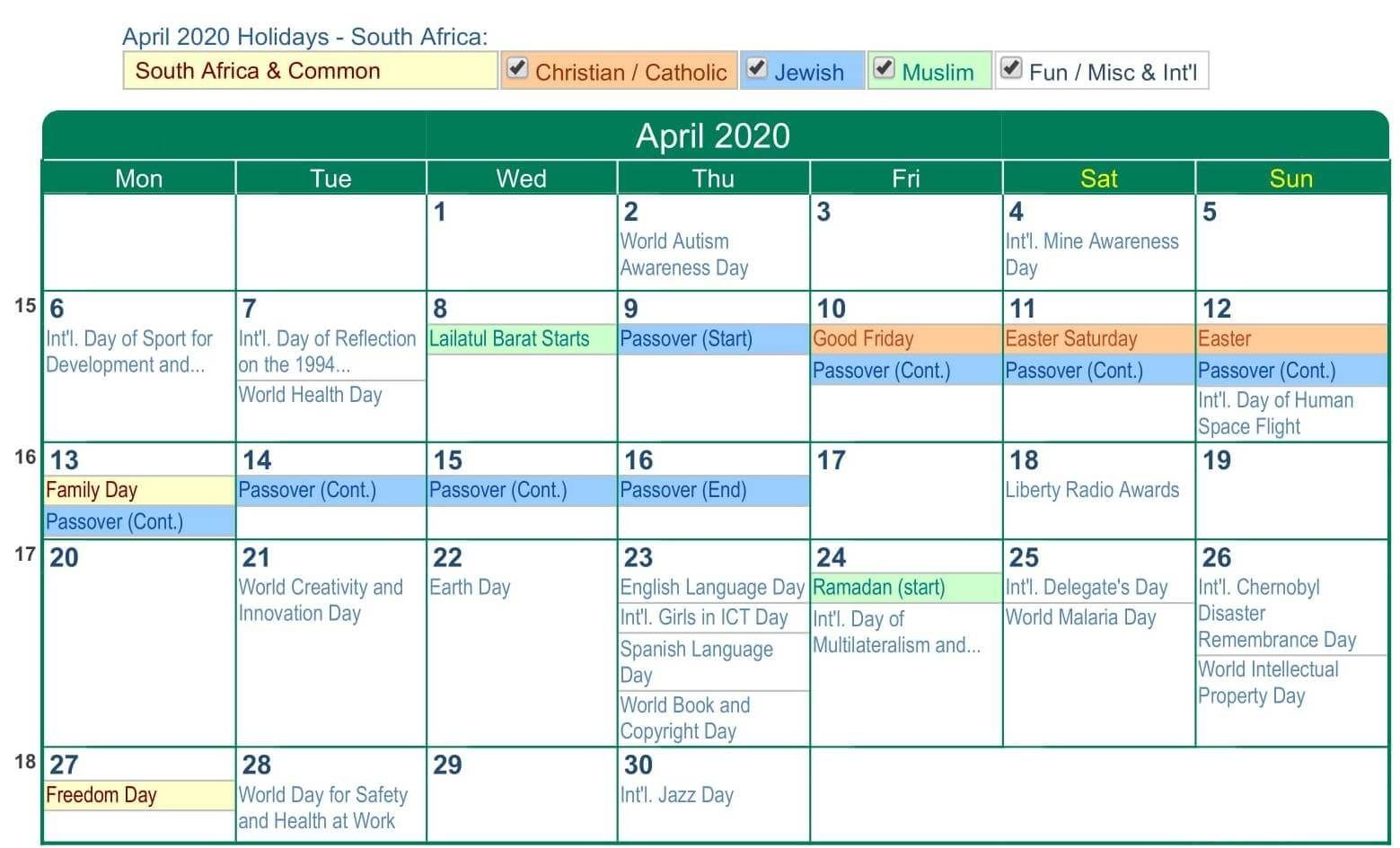 April 2020 Calendar With Holidays Usa Uk Canada India