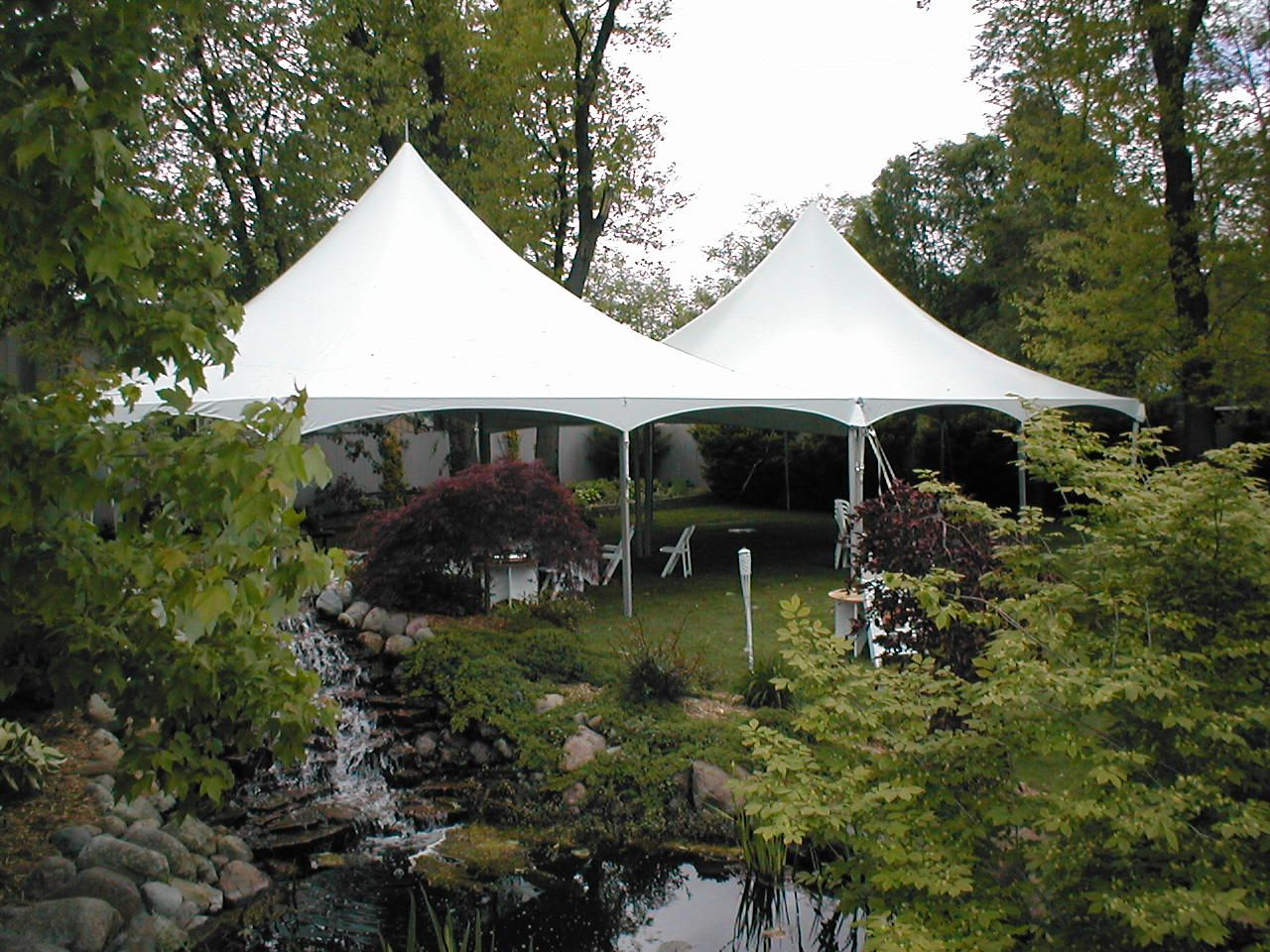 Two 30X30 century frame tents in a beautiful backyard setting - perfect for a wedding or & Two 30X30 century frame tents in a beautiful backyard setting ...