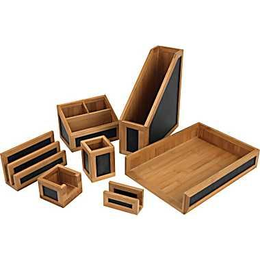 Staples Bamboo 2 Tone Desk Accessories Collection