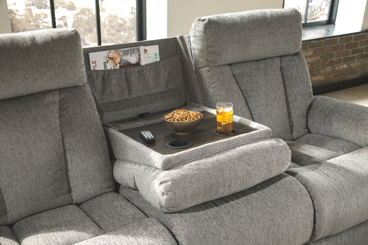 Mitchiner Reclining Sofa with Drop Down Table Furniture