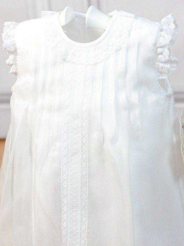 Vestido blanco seda de poliester plumeti central 2794 Belan