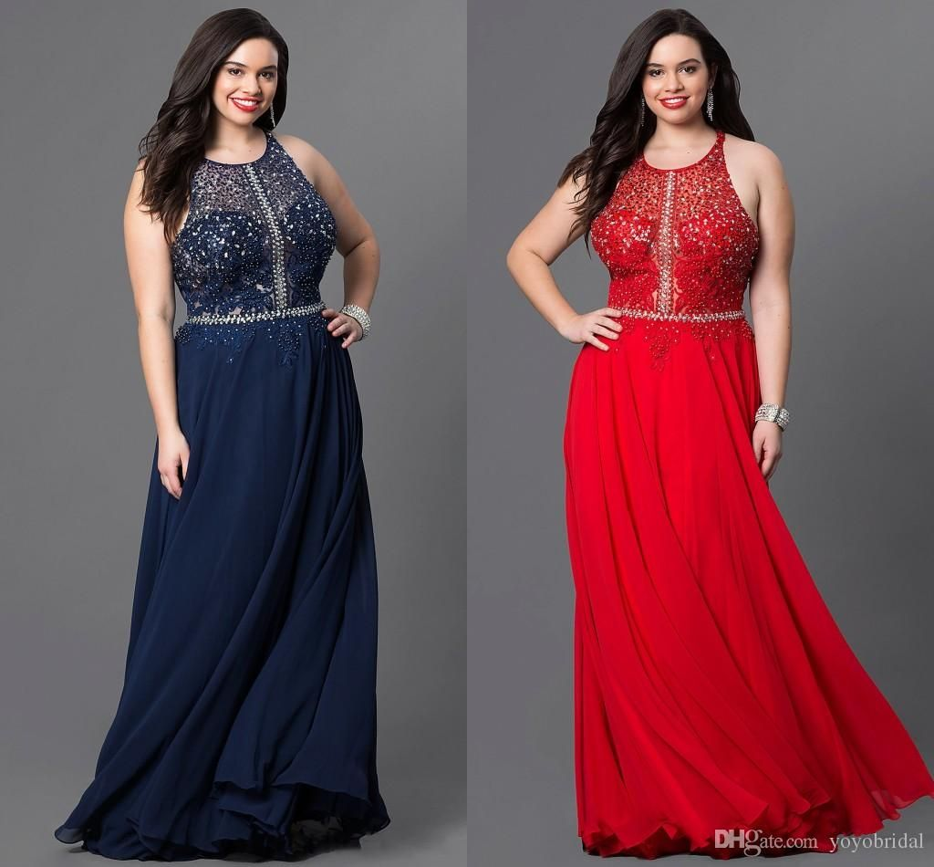 aadaa07b037 Evening Dresses Plus Size Navy Red Halter Jewel Style Lace Applique  Sequined Chiffon Long Formal Pageant…
