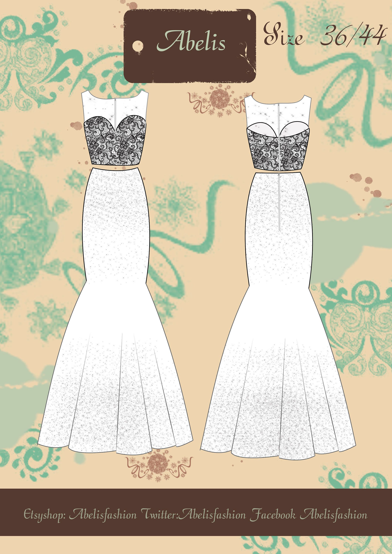 Mermaid women dress pattern, wedding dress, bridesmaid dress ...