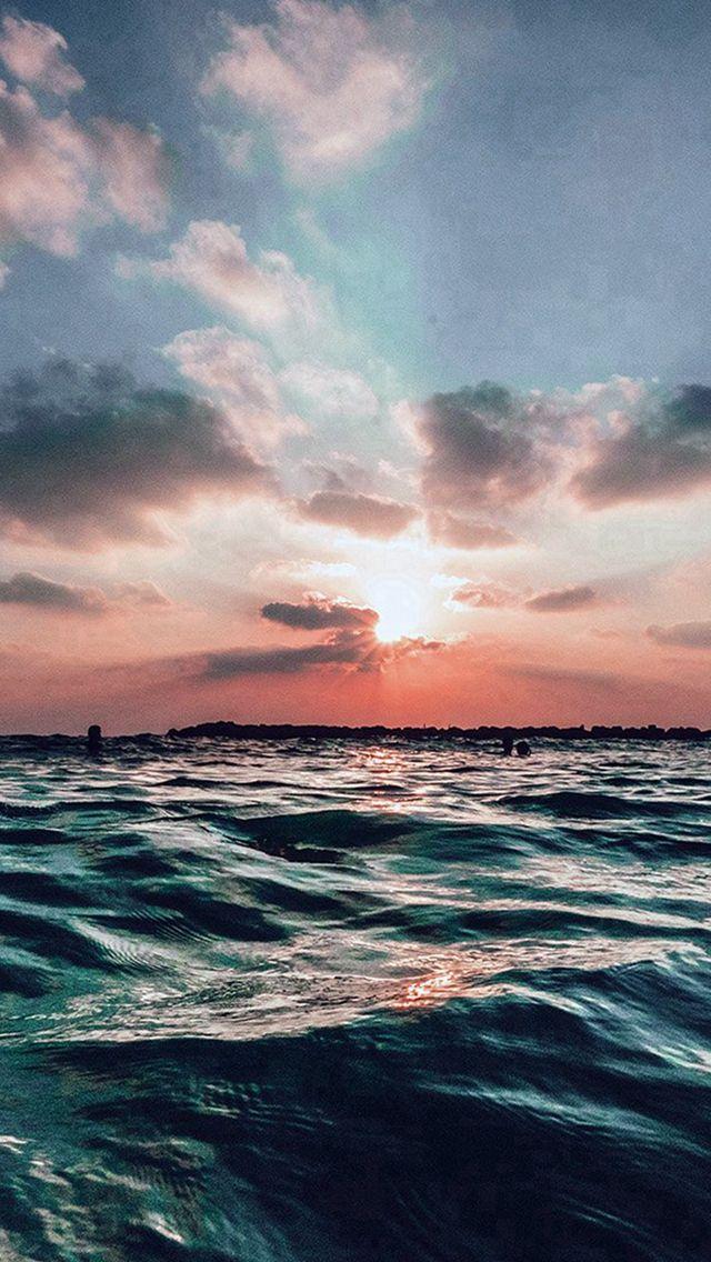 Sunset Sea Sky Ocean Summer Blue Water Nature IPhone 5s Wallpaper