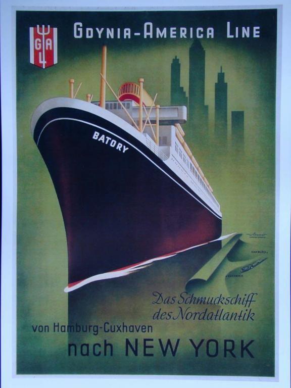 Plakat Art Deco Gdynia Batory New York W 2019 Art Deco