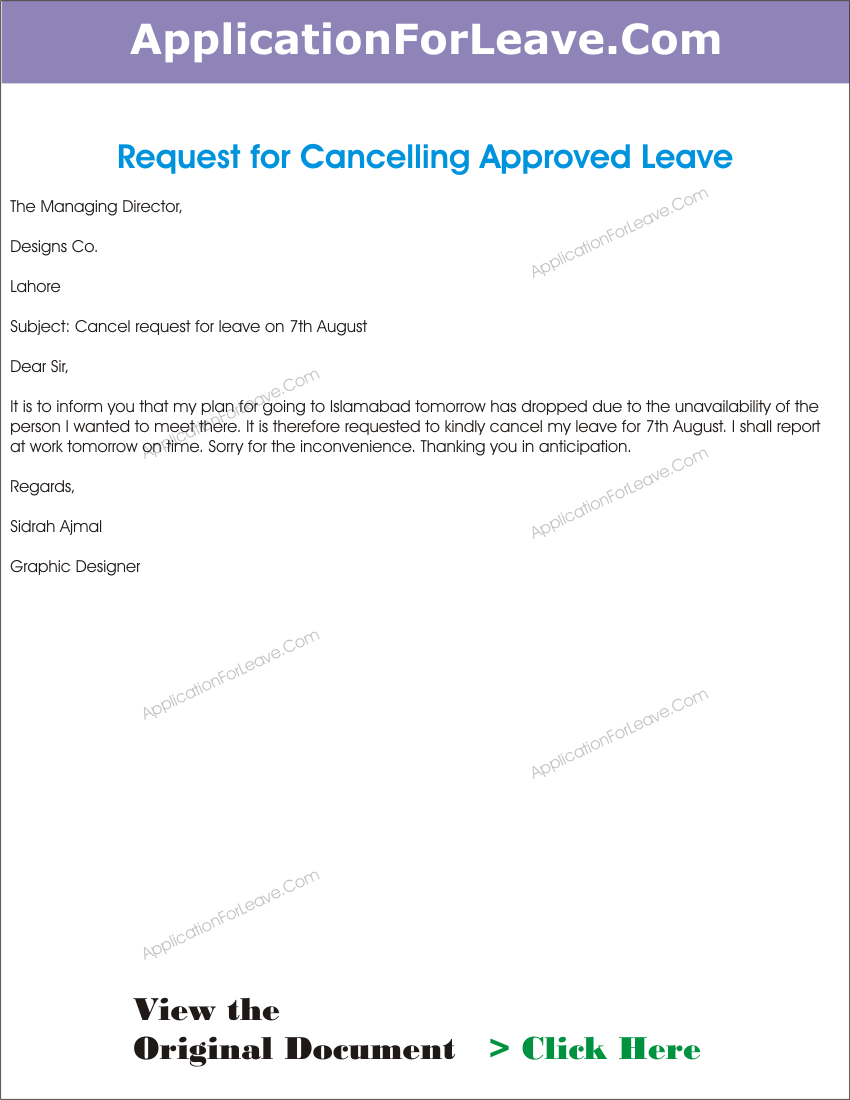 Letter cancel the approved leave employee due work office letter cancel the approved leave employee due work office application for cancellation insurance policy cashier resumes thecheapjerseys Images