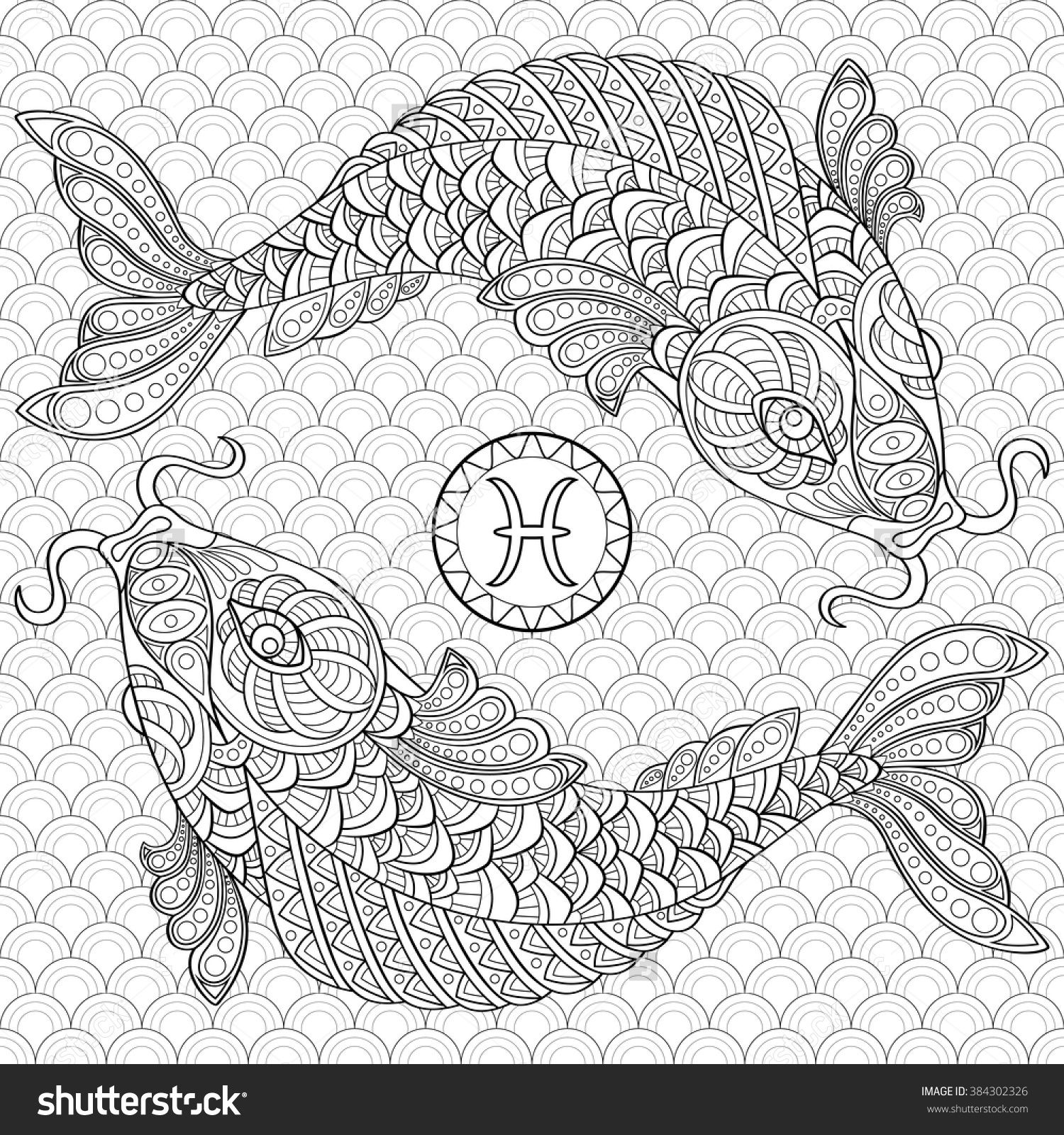 Koi Fish Chinese Carps Adult Antistress Coloring Page Black And White Hand Drawn Doodle For Book Stock Vector Illustration 384302326