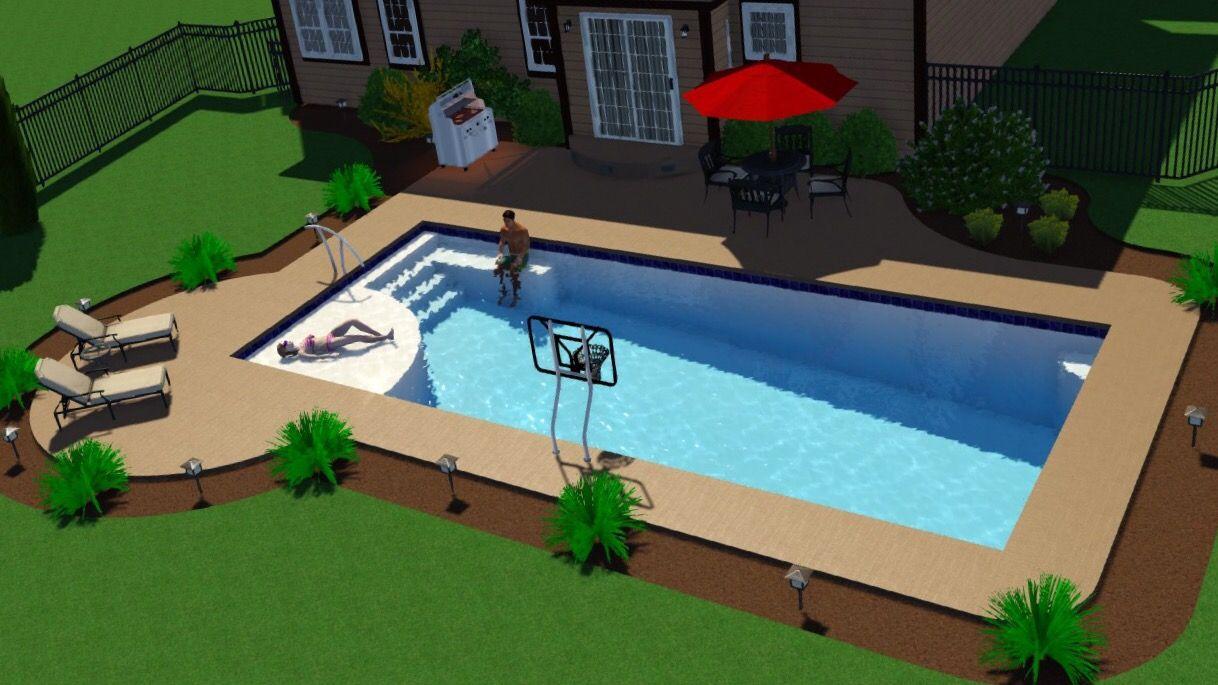 New Great Lakes In Ground Fiberglass Pool By San Juan Fiberglass Pools 16 X37 X6 4 Rectangle Pool Fiberglass Pools Backyard Pool Landscaping