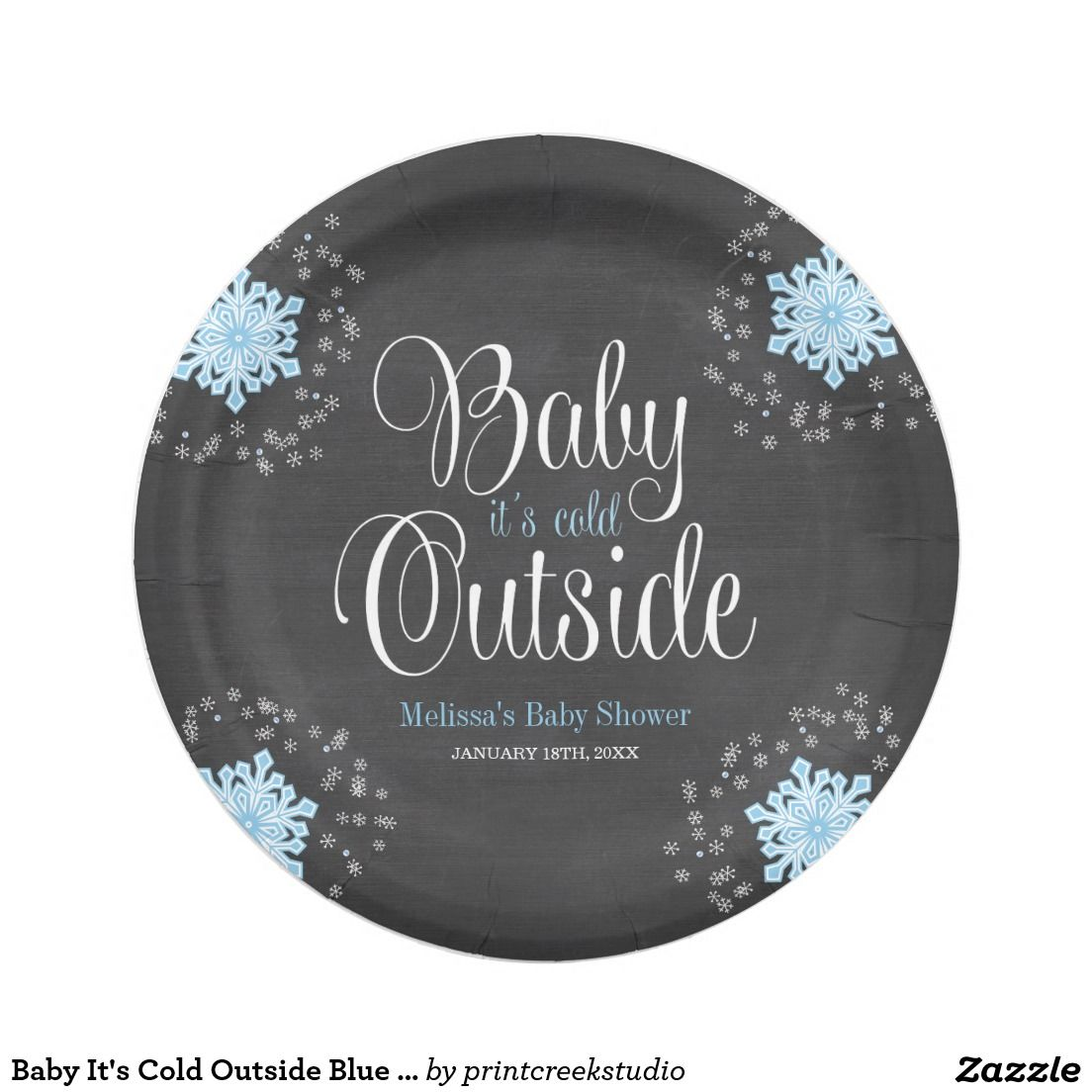Baby Itu0027s Cold Outside Blue Snowflakes Baby Shower Paper Plate  sc 1 st  Pinterest & Baby Itu0027s Cold Outside Blue Snowflakes Baby Shower Paper Plate | Mom ...
