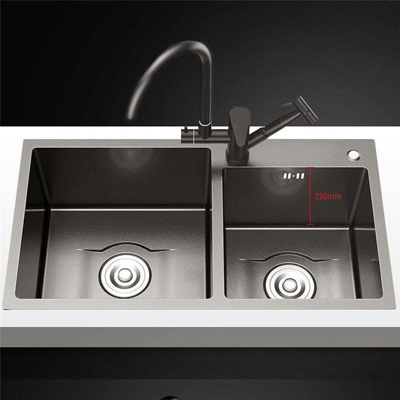 Black Stainless Steel Kitchen Sink Double Bowl Thicken Nano Handmade Washing Sink Stainless Steel Kitchen Sink Black Stainless Steel Kitchen Stainless Steel Sinks